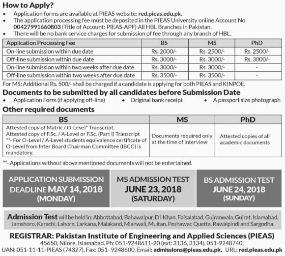 PIEAS Islamabad Online Admission 2018 For BS, MS Engineering