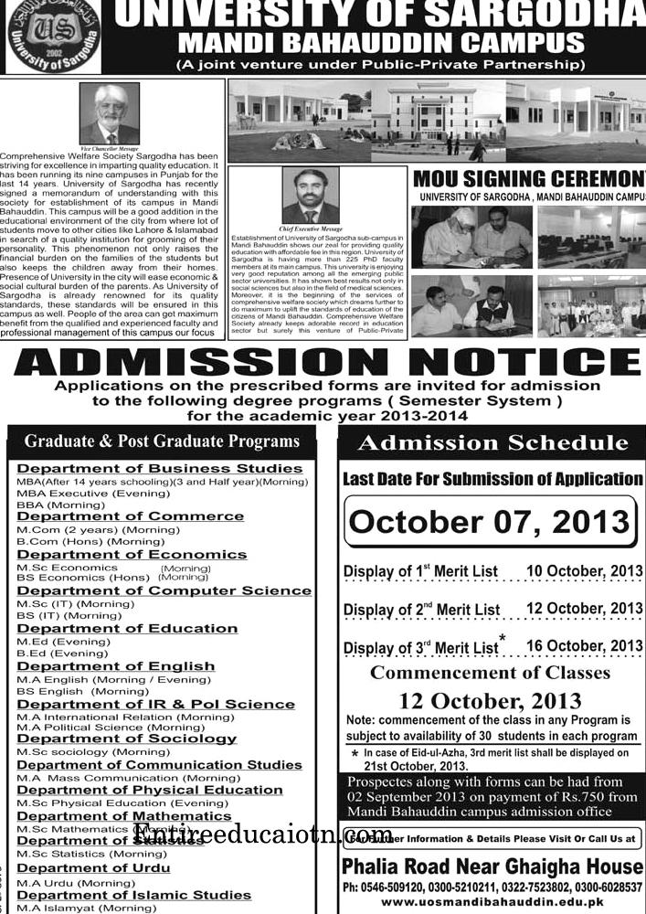 University of Sargodha Mandi Bahauddin