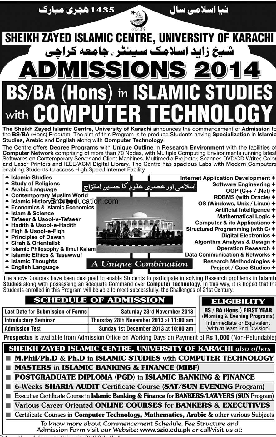 Admission Sheikh Zayed Islamic Center University of Karachi