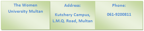 The Women University Multan Contact