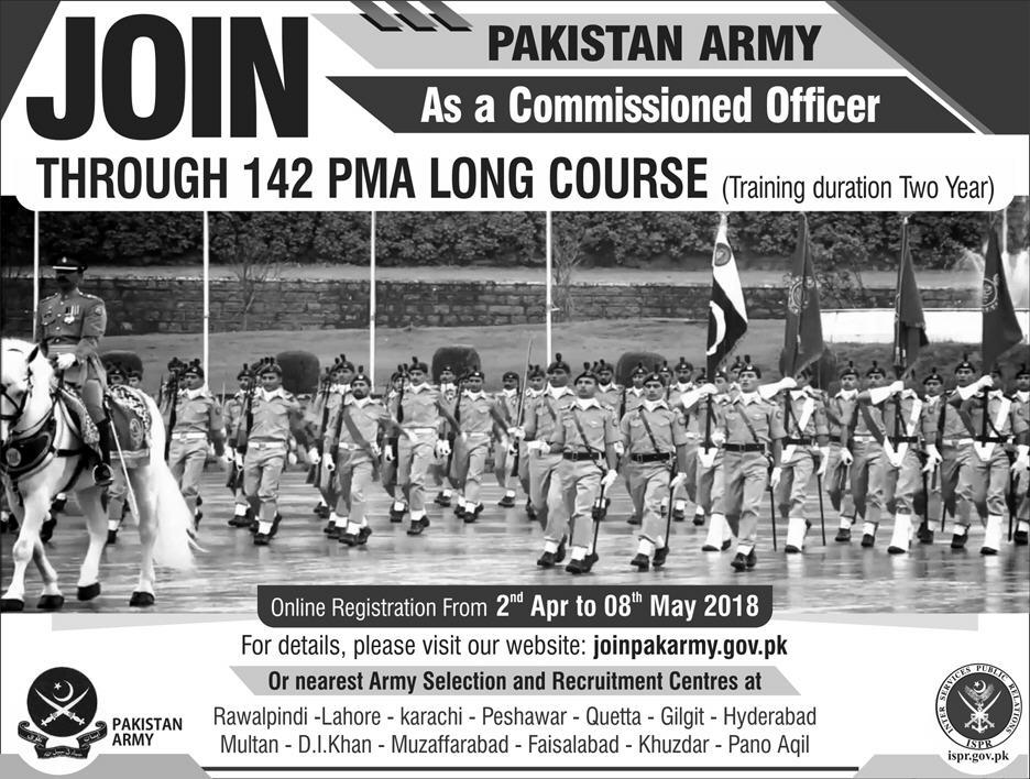 Join Pakistan Army As 2nd Lieutenant 142 PMA Long Course 2018