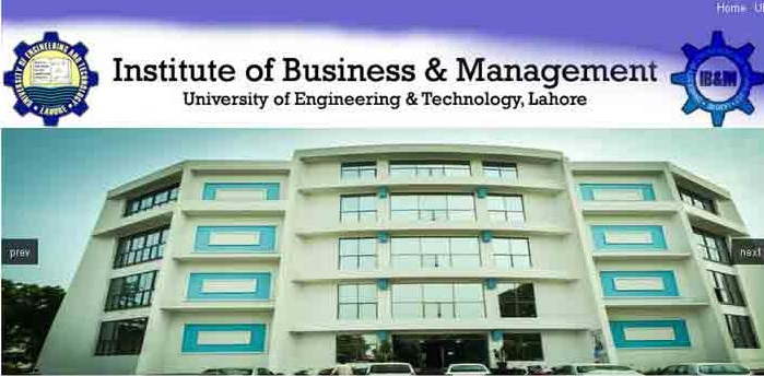 IB&M UET Lahore Admission 2018 for BBA, MBA and MS