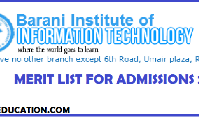 BARANI Institute of Information Technology Rawalpindi BIIT Merit List for Admissions 2019