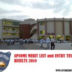 APCOMS University Merit List and Entry Test Results for Admission 2018