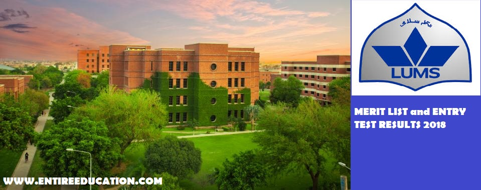 LUMS University Merit List and online Entry Test Results for