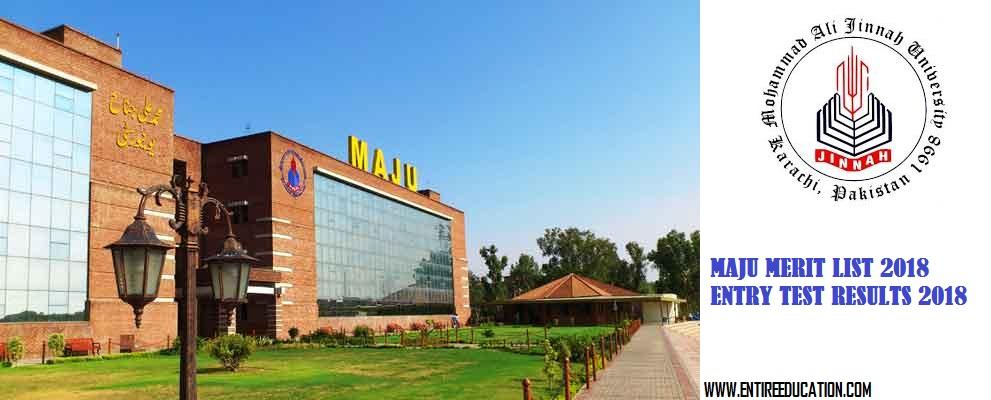 MAJU University Merit List 2019 and Entry Test Result