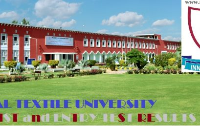 National Textile University Merit List, Entry Test Results for Admissions 2018