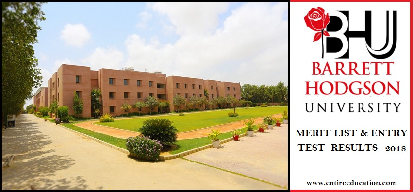 BARRETT HODGSON University Merit List and Entry Test Results for admissions 2019