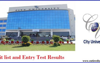 City University of Science and Technology CUSIT Merit List and Entry Test Results for admissions 2019