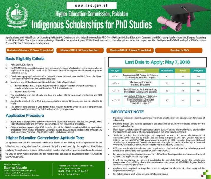 HEC Indigenous Scholarship For PhD Studies 2018 Last Date