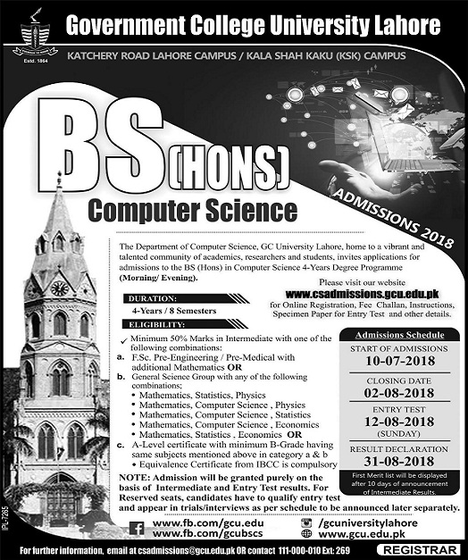 GC University Lahore Admission 2019 Last date to Apply