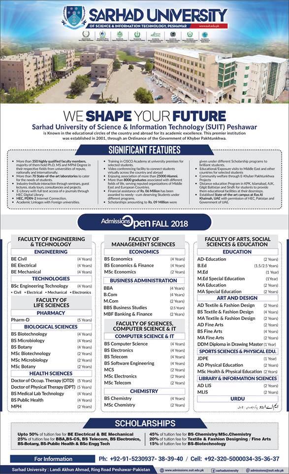 Sarhad University (SUIT) Peshawar Admission